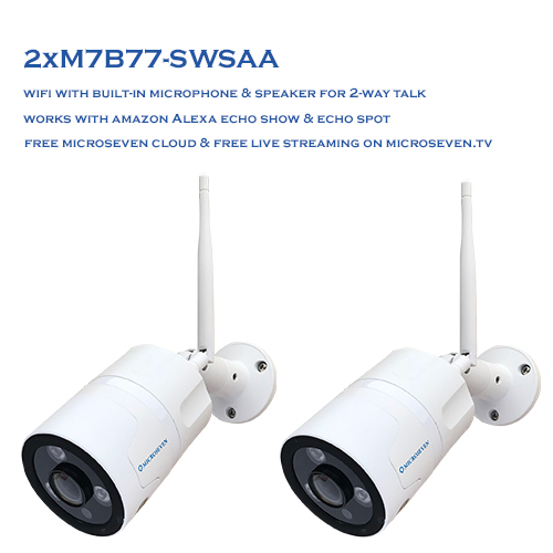 "2x M7B77-SWSAA HD 1080P NEWEST SONY 1/2.8"" Chipset CMOS 3MP 2.1mm Lens Ultra-Wide Angle ( 170° ) Built-in Microphone & Speaker for Two-Way Talk ONVIF Wireless Outdoor IP Camera 128GB SD Slot, Day & Night, Free M7 Cloud+Live Streaming on microseven.tv (No PoE) / Works with Alexa"