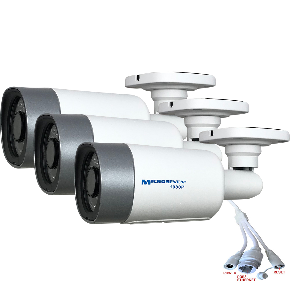 3X Microseven (2020) Open Source 1080P/30fps True WDR (120dB Wide Dynamic Range), Sony Chipset CMOS ProHD POE Outdoor IP Camera, Amazon Certified Works with Alexa, Two-Way Audio with Built-in Amplified Microphone & Speaker, Wide Angle (150°), Human Motion Detection, 128GB SD Slot, Night Vision IR Light (On/Off ), Waterproof Security Camera, ONVIF CCTV Surveillance Camera, Web GUI & Apps,VMS (Video Management System)Works with Alexa No Monthly Fee+Broadcasting on YouTube, Facebook & Microseven.tv