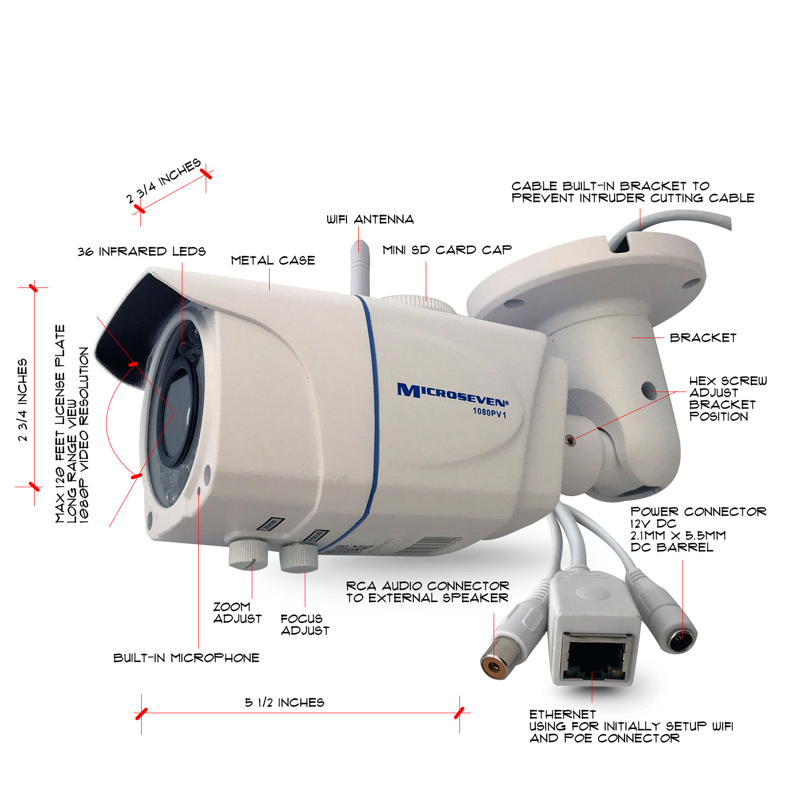 "M7B77-WPSV1 HD 1080P NEWEST SONY 1/2.8"" Chipset CMOS 3MP 6-22mm Varifocal Lens Plug and Play ONVIF Wireless Outdoor Security IP Camera 128GB SD Slot,Build-in POE, Built-in Microphone, Day & Night, Free M7 Cloud+Free Live Streaming on microseven.tv /Works with Amazon Alexa (With Built-in POE)"