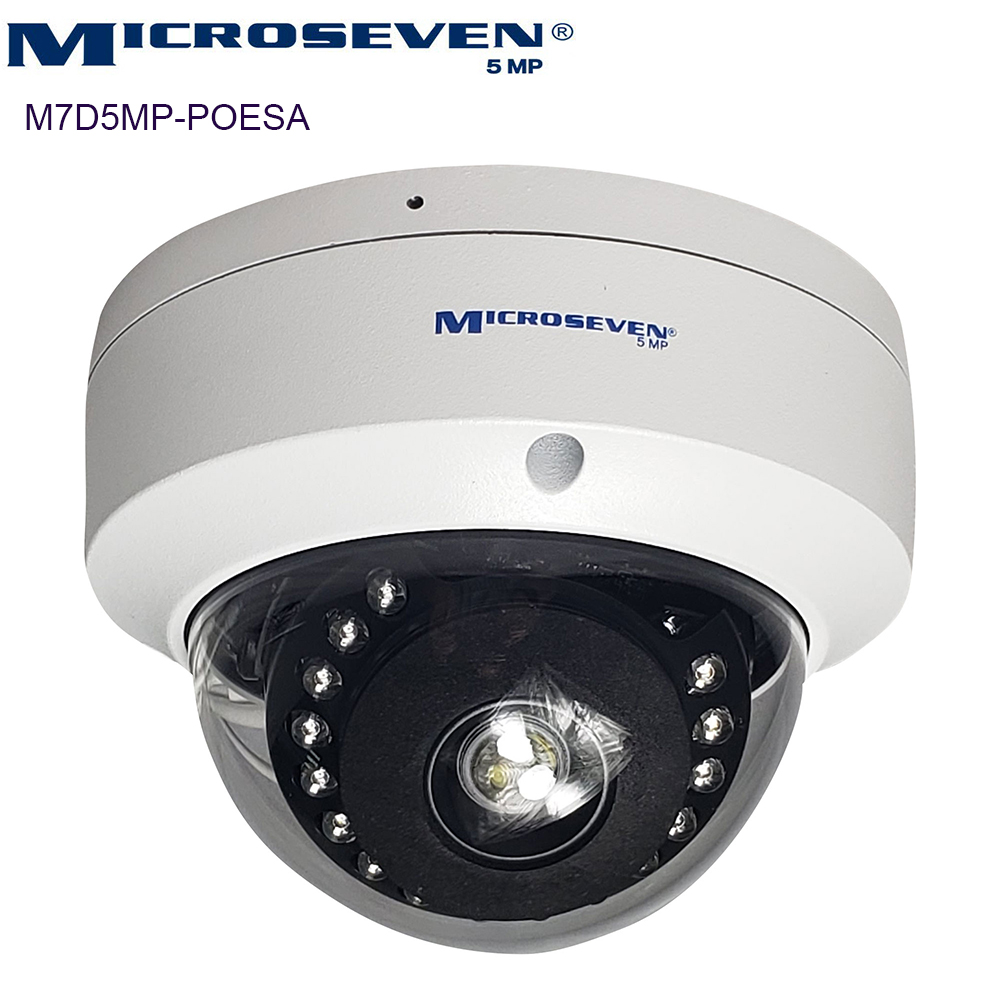 Microseven 5MP UltraHD (2560x1920) POE Dome IP Camera ( New 2020 Version ) Sony Chipset CMOS 2.8mm 5MP Len Audio, Amazon Certified Works with Alexa with No Monthly Fee, Wide Angle (120°), Web GUI & Apps, VMS ( Video Management System ), Free 24Hr Cloud, Audio with Build-in Amplified Microphone & SD Slot Support Upto  128GB Day & Night, H.265 A.I. Human Motion Detection, ONVIF, Indoor / Outdoor IP66, 100ft IR Distance + Broadcasting on YouTube, Facebook & Microseven.tv