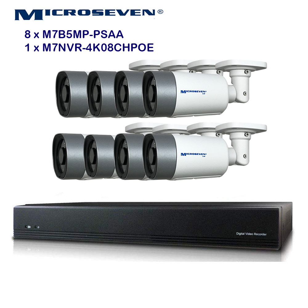 MICROSEVEN 8MP 8CH PoE Home Security Camera System with Audio & Works with Alexa for 24x7 Recording,(8) Outdoor 5MP Bullet PoE IP Cameras, 100ft IR Night, 8 Channel 8MP PoE NVR, Support Upto 8TB HDD