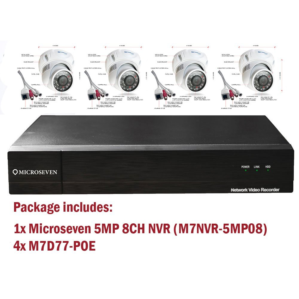 Microseven H.265 NVR 5 Megapixel POE 8CH ( HDD not included ) + 4 x Built-in POE DOME IP Cameras ( 1XM7NVR-5MP08,4XM7D77-POE)