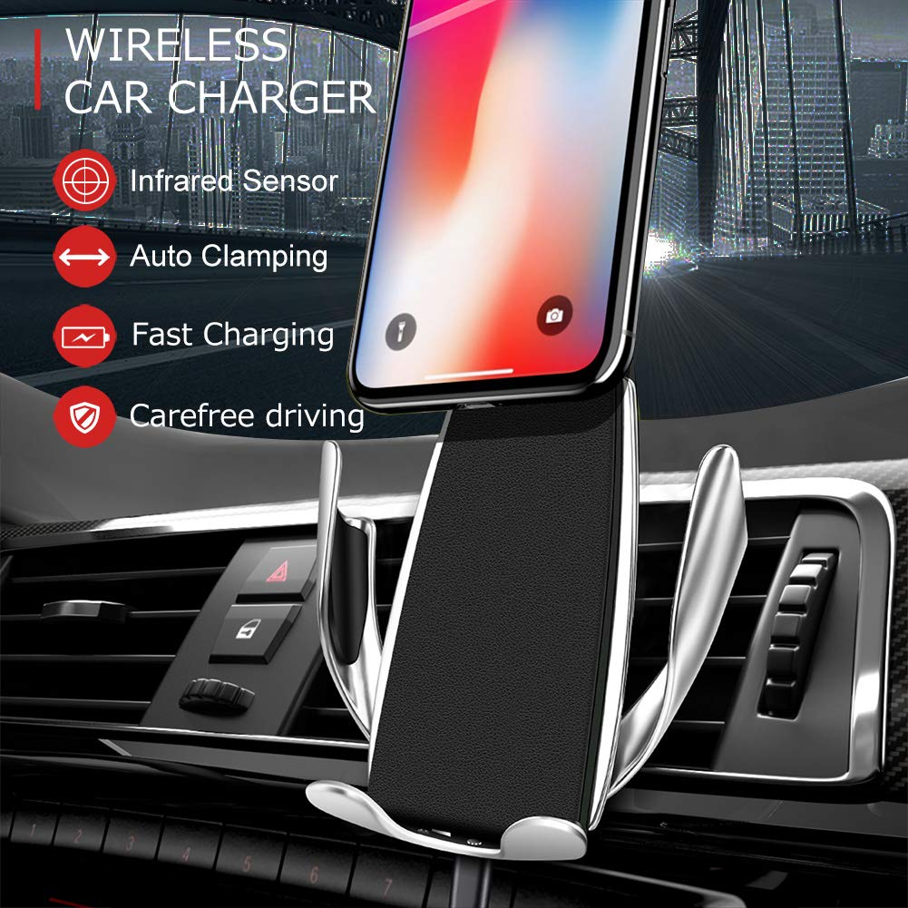 Microseven Universal Infrared Smart Sensor Automatic Clamping Wireless Car Charger 10W Fast Charging Qi-Enabled Devices For All Phone Model Supported  Wireless Charger Function