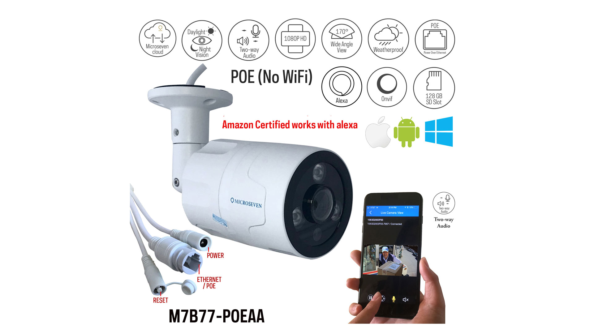 How To Set Up M7B77-POEAA 170º Wide Angle Microseven Security Camera Hardware Installation